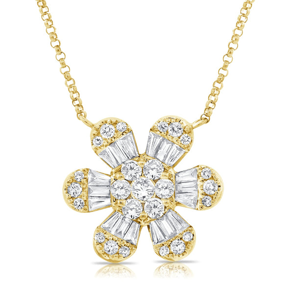 14K Yellow Gold Baguette Diamond Large Flower Necklace