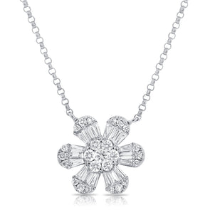 14K White Gold Baguette Diamond Medium Flower Necklace
