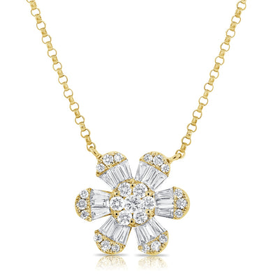 14K Yellow Gold Baguette Diamond Medium Flower Necklace