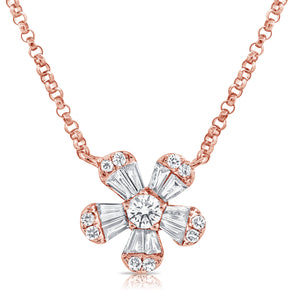 14K Rose Gold Diamond Small Flower Necklace