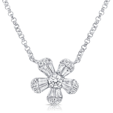 14K White Gold Diamond Small Flower Necklace