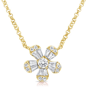 14K Yellow Gold Diamond Small Flower Necklace