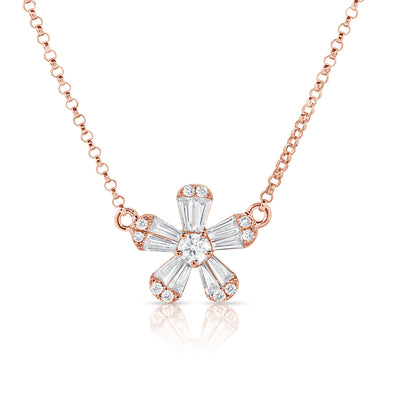 14K Rose Gold Baguette Diamond Small Flower Necklace