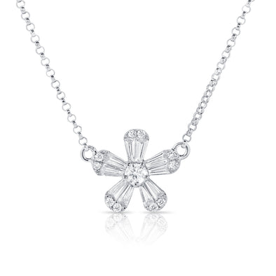 14K White Gold Baguette Diamond Small Flower Necklace