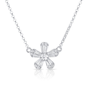 14K White Gold Diamond Petite Flower Necklace