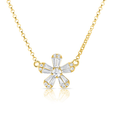 14K Yellow Gold Baguette Diamond Small Flower Necklace