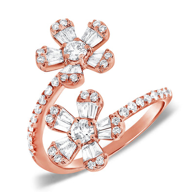 14K Rose Gold Round and Baguette Diamond Flower Wrap Ring