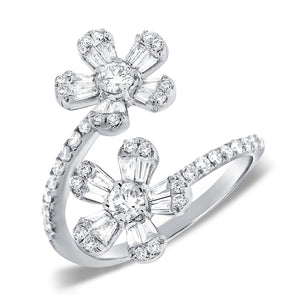 14K White Gold Round and Baguette Diamond Flower Wrap Ring