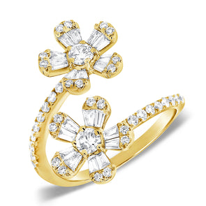 14K Yellow Gold Round and Baguette Diamond Flower Wrap Ring
