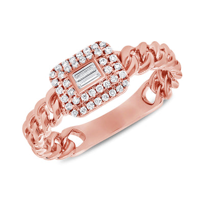 14K Rose Gold Diamond Top Link Ring