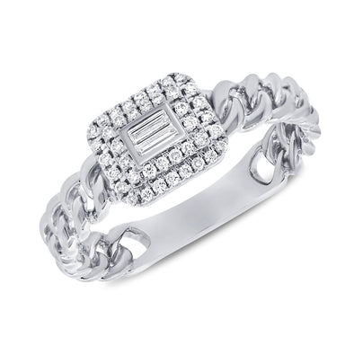 14K White Gold Diamond Top Link Ring