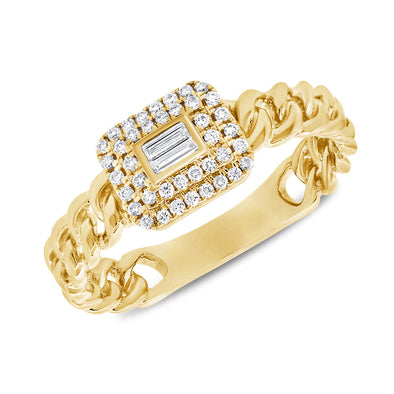 14K Yellow Gold Diamond Top Link Ring