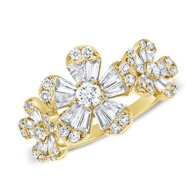 14K Diamond Triple Baguette Flower Ring