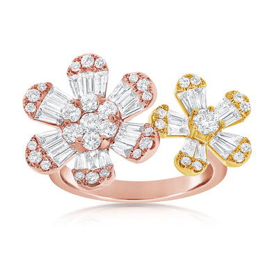 14K Rose + Yellow Gold Double Diamond Flower Ring