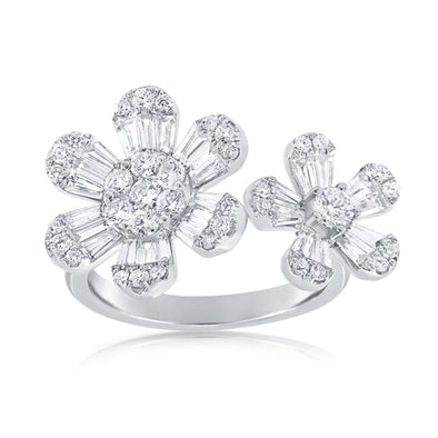 14K Rose Gold Double Diamond Flower Ring