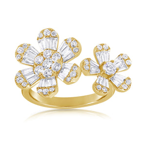 14K Yellow Gold Double Diamond Flower Ring