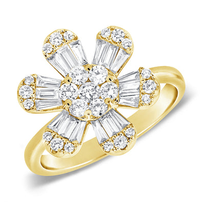 14K Yellow Gold Baguette & Round Diamond Large Flower Ring
