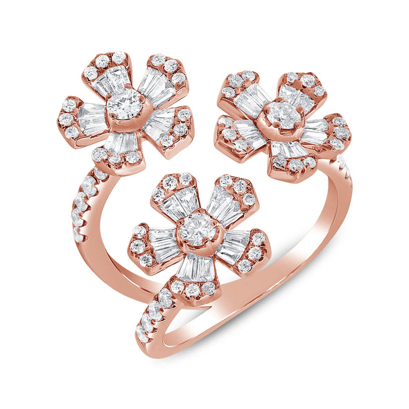 14K Rose Gold Diamond Triple Flower Wrap Ring