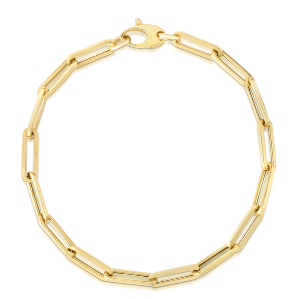 14k Yellow Gold 4.2mm Polished Paperclip Chain Bracelet