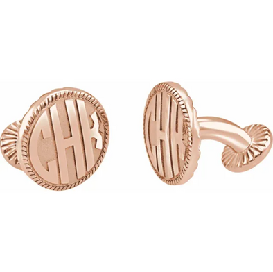 Rose Gold Plated Sterling Silver 3-Letter Block Monogram Round Cuff Links