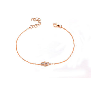 14K Rose Gold Diamond Hamsa Bracelet