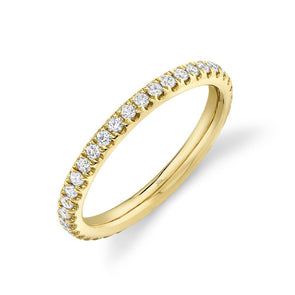 14K Yellow Gold Diamond 2.4mm Eternity Band