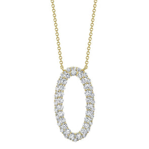 14K Yellow Gold Diamond Oval Necklace
