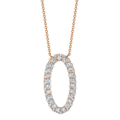 14K Rose Gold Diamond Oval Necklace
