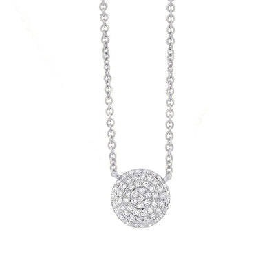 14K White Gold Pave Diamond Disc Necklace