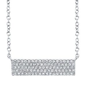 14K White Gold Diamond Pave Bar Necklace