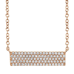 14K Rose Gold Diamond Pave Bar Necklace