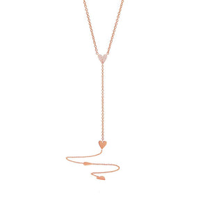 Pave Heart Lariat Necklace