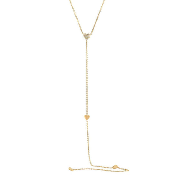 14K White Gold Pave Heart Lariat Necklace