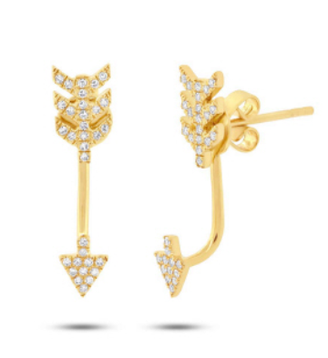 14K Yellow Gold Diamond Arrow Earrings