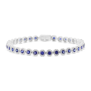 14K White Gold Diamond Halo + Blue Sapphire Bracelet