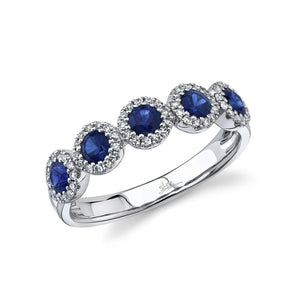 14K White Gold Diamond Halo + Blue Sapphire Band