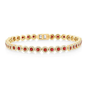 14K Yellow Gold Ruby and Diamond Tennis Bracelet
