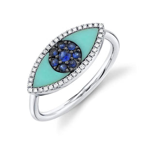 14K White Gold Diamond & Blue Sapphire + Turquoise Eye Ring