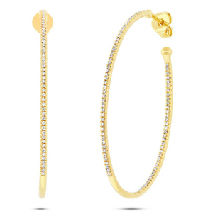 Yellow Gold 14K Inside & Outside Diamond Large Oval Hoops