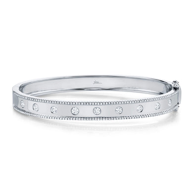 14K White Gold Diamond Border Hinged Bangle (Medium)