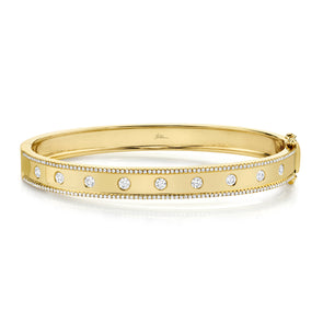 14K Yellow Gold Diamond Border Hinged Bangle (Medium)