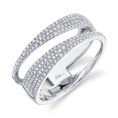 14K White Gold Diamond Pave Split Shank Ring