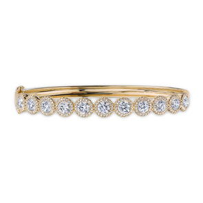 14K Yellow Gold Diamond Halo Hinged Bangle (Large)