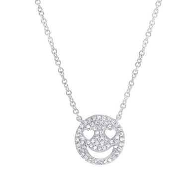 14K White Gold Diamond Smiley Face Necklace