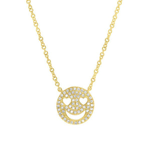 14K Yellow Gold Diamond Smiley Face Necklace