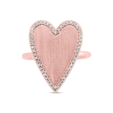 14K Rose Gold Large Diamond Heart Ring