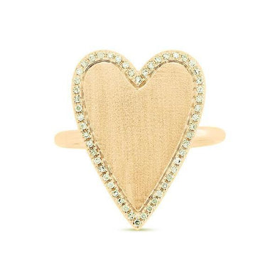 14K Yellow Gold Large Diamond Heart Ring