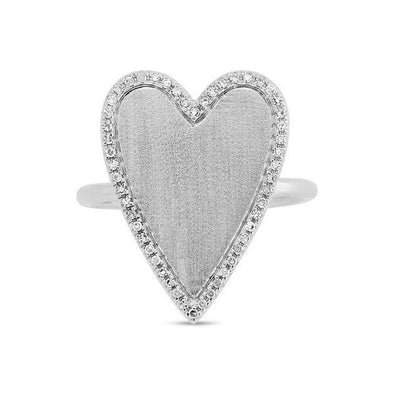 14K White Gold Large Diamond Heart Ring