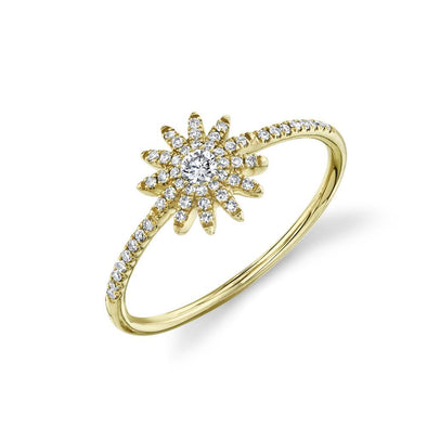 14K Yellow Gold Diamond Starburst Ring