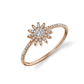 14K Rose Gold Diamond Starburst Ring